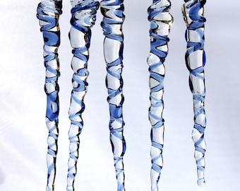 Icicle Ornaments Blue Glass Christmas Holiday Decor, Hand Blown Glass Borosilicate, Natural USA Made