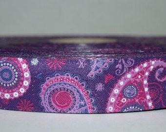 Paisley jacquard ribbon pink purple lilac