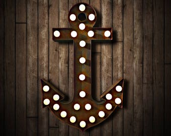 Large Illuminated Rusted Anchor (Relic // Patina // Fun Fair // Sign & Light // Vintage Themed // Wedding // Distressed // Marquee Light)