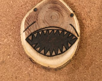 Wood Burned Shark Magnet