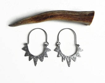 Sun hoop earrings, half circle spike earrings, tribal sun earrings, sun super hoops