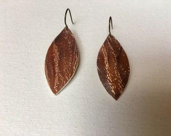 Brown Metallic Leather Earrings