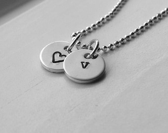 Personalized Jewelry, Tiny Letter v Necklace, Sterling Silver Initial Necklace, Letter v Jewelry, Heart Necklace, Charm Necklace