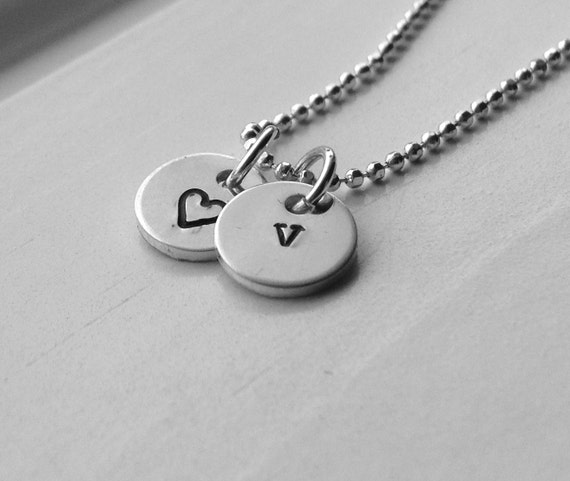 Personalized Jewelry Tiny Letter V Necklace Sterling Silver