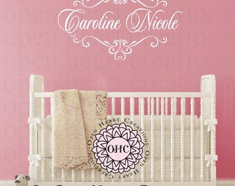 Girl or Boy Heart Name Wall Decals - Shabby Chic Vinyl Wall Decal with Monogram and Heart Accents 22H X 36W Fn0613