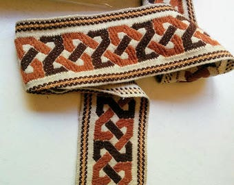 Vintage Upholstery Trim Tan and Brown Geometric Pattern price for 2 metre