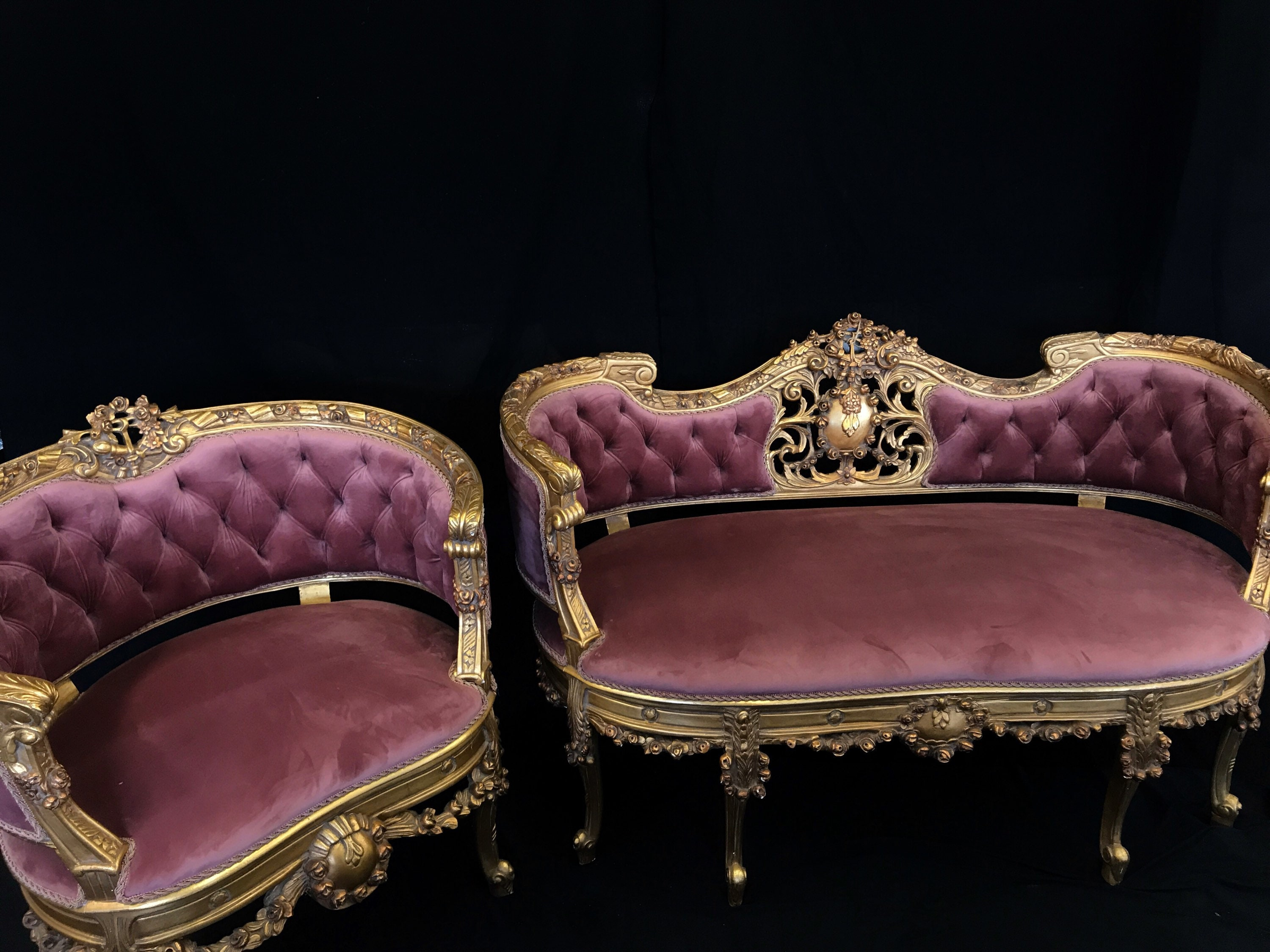 French style Louis XV Salon Set - loveseat and matching chairs ...