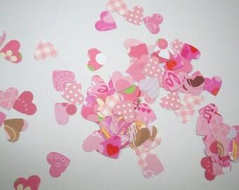 Confetti Hearts, Die Cut Hearts, Pink Hearts, Valentine Heart Cut Outs, Valentine Hearts, Paper Hearts, Heart Confetti, Heart Embellishments