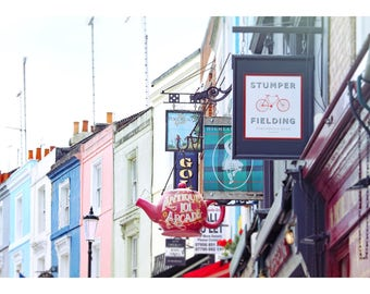 London streetscape, London shop signs, London home decor, travel photography, fine art photography, street signs, Portobello Road, 11x14
