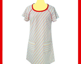 Striped cotton long tunic or dress