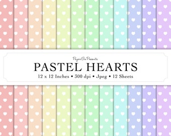 """Digital Paper """"Pastel Hearts"""" • Instant Download • Scrapbooking Supply • High Quality • Commercial Use"""