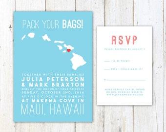 Tropical Wedding Invitation Destination Wedding Jungle