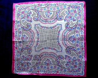 Handkerchief, vintage.  A Paisley design with a high sheen, very pretty, white background, in shades of pink, blues & black. c1930's.