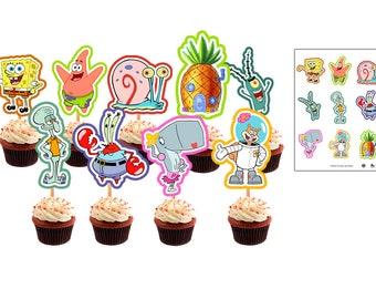 sponge Bob cupcakes toppers sponge Bob printable toppers sponge Bob birthday ideas sponge Bob