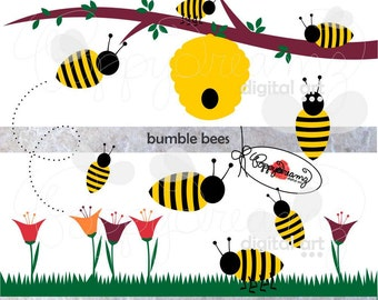 Bumble Bees: Clip Art Pack (300 dpi transparent png) Digital Bumble Bee Bumblebee Honeybee Flower Garden Clipart