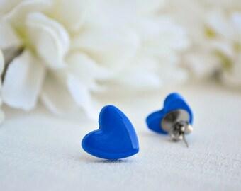 Blue heart earrings - Stud earrings