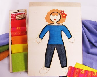 DressS Up, Creativity Toy, Wooden Doll, Fashion Kit,