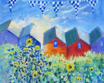 "12 x 12 Canvas. ""Sunflowers and Beach Huts"". Seaside Painting. Beach Hut Art. Ready to Hang. Oil Painting."