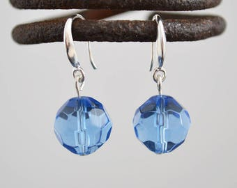 Blue faceted glass silver earrings, Faceted glass silver earrings, Glass silver earrings, Blue glass sterling silver earrings, Blue earrings