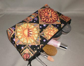 Cosmetic Bag - Makeup Bag - Large Zipper Pouch - Sun - Moon - Stars - Zodiac