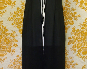 Vintage 1990's Witchy Goth Stevie Nicks Lace Up Slip Dress with Large Side Splits Size AU12