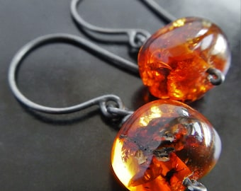 Natural Baltic Amber and Sterling Silver Earrings - Silver Amber Earrings - Amber Jewelry - Oxidized Silver Dangle Earrings - Gaia's Candy