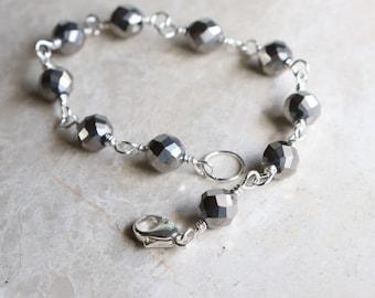 Pewter Bracelet, Pewter Glass Bead Bracelet, Czech Glass Bead Bracelet, Sterling Silver Beaded Bracelet, Silver Stacking Bracelet, Bangle