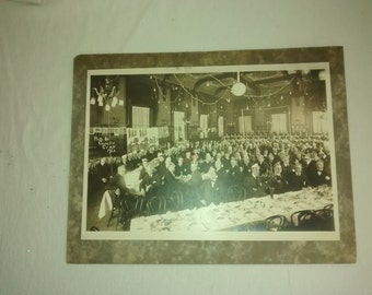 Large 1920's Photo , The Cherry Blossoms Co , Men's Celebration , Funny Paper Hats