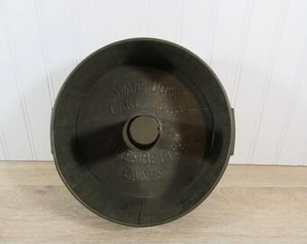 cMetal bundt or angel cake pan marked Swans Down Cake Flour Makes Better Cakes- adjustable side vents- vintage