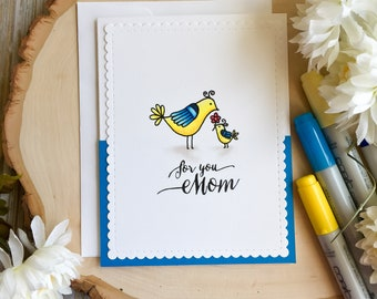 Mothers Day Card, Happy Mothers Day Card, Happy Mothers Day, Bird Mothers Day Card, Mothers Day Bird Card, Cute Mothers Day Card, Handmade