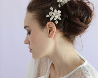 Bridal floral hair pins - Crystal speckled blossom and leaf bobby pin pair - Style 617 - Made to Order
