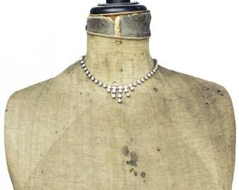 Vintage Rhinestone Necklace, Aurora Borealis Rhinestone Necklace, Rhinestone Fringe Necklace, Rainbow Rhinestone Necklace