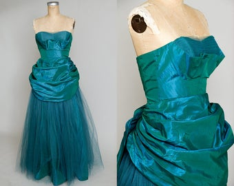 1950s Sea Green Fred Perlberg Iridescent Taffeta Gathered Sweetheart Neckline Rockabilly Party Dress