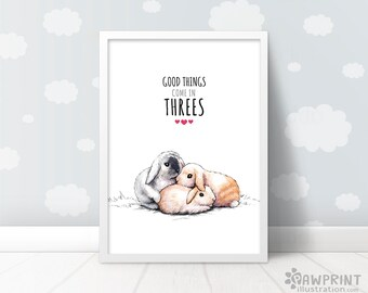 "Nursery Bunny Rabbit gift for triplets nursery ""Good things come in threes"" baby shower gift new baby gift triplet gifts triplets nursery"