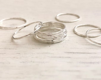 Thin Dainty Sterling Silver Hammered Ring / Stackable Simple Delicate Silver Ring for Her / Textured Band Stacking Ring