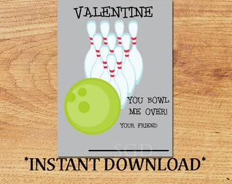 INSTANT DOWNLOAD - Blank Valentine - Bowling - Mini Valentine