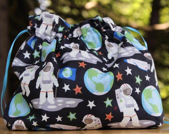 Astronaut Planet Lover Drawstring Bag, Gifts for Star Lovers, Gifts for Knitters, Gifts for Crochet, Small Toy Bag, Small Toiletry Bag