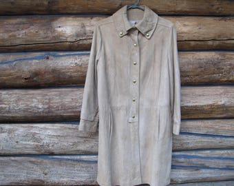MOD Suede Coat Womens Suede Jacket Camel Suede 60s Leather Fashion Tan Suede Boho Hippy Hip Jackie O Slim Coat
