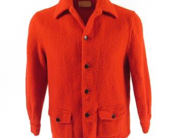 Vintage 60s Hudsons Bay Point Blanket Coat Mens M Red [I02O_2-6]