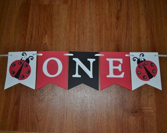 Ladybug Highchair Banner, Ladybug ONE Banner, Ladybug I am 1 Banner, Ladybug Party, Ladybug First Birthday, Ladybug Photo Prop