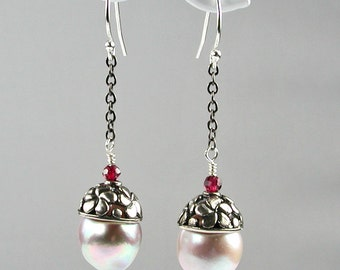 Pink Baroque Pearls With Silver Caps, Garnets and Gunmetal Chains Earrings