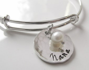 Nana Bracelet -  Silver Name Bracelet - Grandmother Gift - Grandma Bracelet - Personalized Bracelet - Silver Grandma Gift