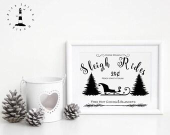 Sleigh Rides Print, Sleigh Rides Holidays Wall Art Decor, Farmhouse Sleigh Print, Merry Christmas Decor, Winter Decor, Sleigh Decor