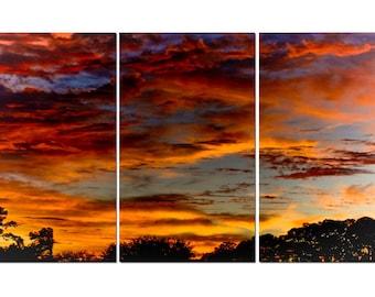 Florida Backyard Sunset Canvas Triptych, 3 Panel Art, LARGE, Ready to Hang