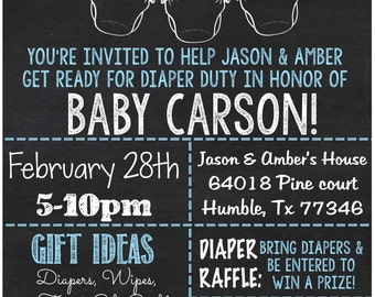 Chalkboard Style Diaper Party Or Baby Shower Invitation