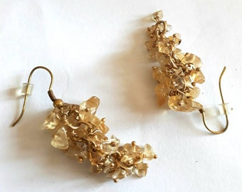 Citrine, shades of yellow, gold, and lemon cluster earrings -  November Birthstone