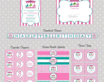 Pink Carousel Merry Go Round Birthday Party - Printables