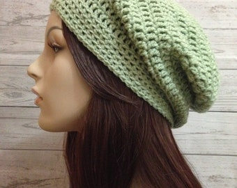 Light Green Crochet Hat / Green Slouchy Beanie / Womens Crochet Slouchy / Black Crochet Slouchy Hat / Boho Slouchy Hat / Womens Accessories