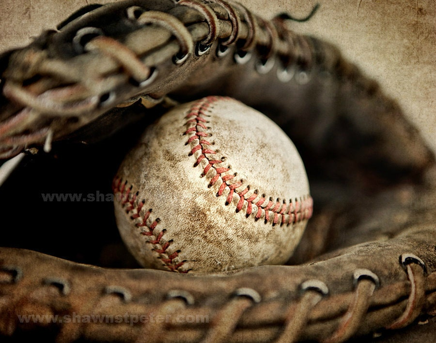 Vintage Baseball In Catchers Mit Photo Print Boys Room Decor