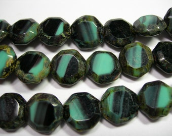 17 Awesome Czech Glass Turquoise & Black Picasso Table Cut Octagon Beads 12mm